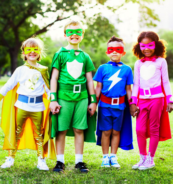 kids wearing super hero suit